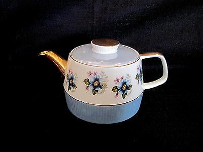 Lovely Gibsons Staffordshire England Gold Trim Teapot With Blue Dogwood Flowers