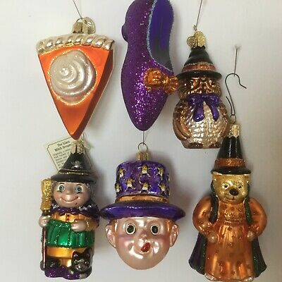 6 Old World Christmas Halloween Ornaments Wizards Witches Black Cat Bear Merck