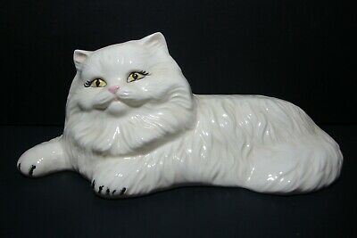 Vintage Small White Ceramic Persian Kitty Cat Laying Down 7""