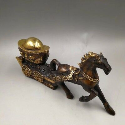 Chinese Antique copper hand-made horses carrying ingots Statues Home decoration