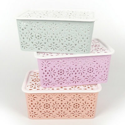 Plastic Storage Basket Box Bin Container Organizer Clothes Laundry Home Hold@V