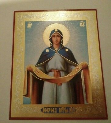 RUSSIAN ICON, lithography MOTHER OF GOD Pokrova