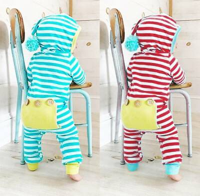 Infant Baby Boy Girl Babygrow Hooded Stripe Romper Jumpsuit Sleepsuit Outfits