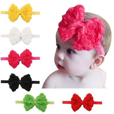New Double-layer Embroidery Rose Children's headband Chiffon Bow Baby Head Band