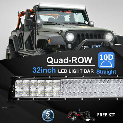 32Inch 4080W Quad-row LED Work Light Bar Flood Spot OffRoad Driving PK 30/32