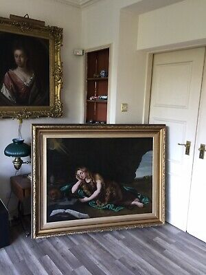 large early 19th century oil painting on canvas signed dated1834 gilt frame