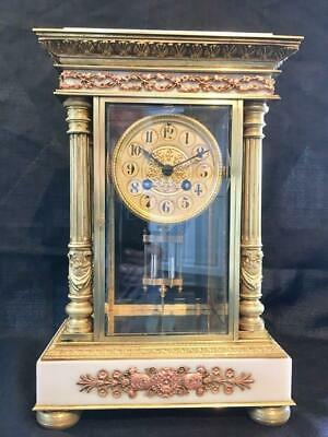 Antique French Empire Marble And Oromlu Clock Four Glass Crystal Regulator