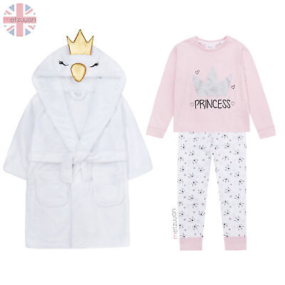 Childrens Girls Dressing Robe Princess Pyjama Set Pink Swan Cotton 2-6 Years New