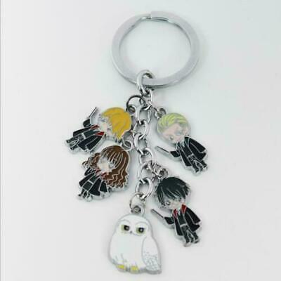 Harry Potter, Hermoine, Ron, Hedwig, Draco - Charms Keyring (Silvertone, NWOT)