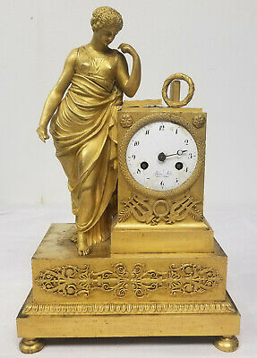 Antique Fine French Gilt Bronze Ormolu Gold Mantle Clock Blanc Fils Palais Royal