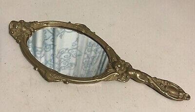 Antique Vintage 30cm Solid Brass Mirror with Angel Handle with Wings