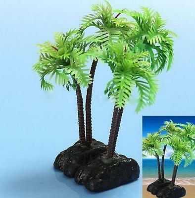 Plastic Aquarium Coconut Trees Fish Tank Plants Ornament Decoration Fresh~PA