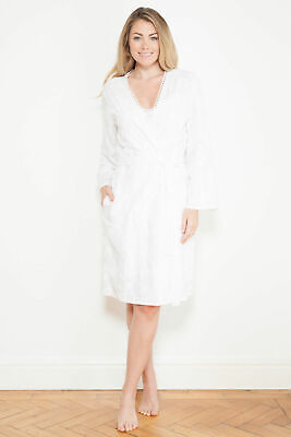 Ladies 'Georgia' White Floral Embroidered Dressing Gown Robe ~ RRP £40 ~ Size 22