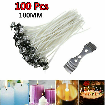 Pack 100 Pre Waxed Candle Wicks for Candle Making With Sustainers 15cm Long UK