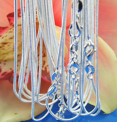 925sterling solid Silver lots 2-5-10PCS 1mm / 2mm snake chain Necklace 16-30inch