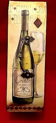 Wooden Painted Wine Gift Box, Has Handle and Latch, Bottle on Top