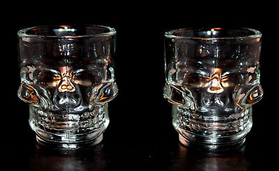 Halloween Holiday Retro Skull Shot Glass Set Day of the Dead Spooky Barware NEW