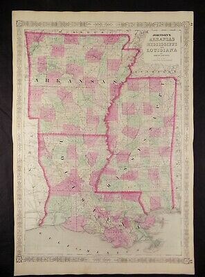 1863 CIVIL WAR MAP OF ARKANSAS, MS & LOUISIANA JOHNSON'S  ATLAS, w/ C.O.A. ORIG