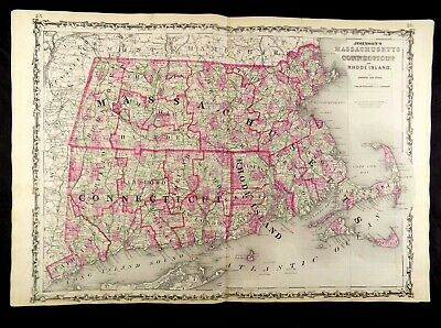 1863 MAP OF MASSACHUSETTS, CONNECTICUT, RHODE ISL. JOHNSON'S  ATLAS, w/ C.O.A.