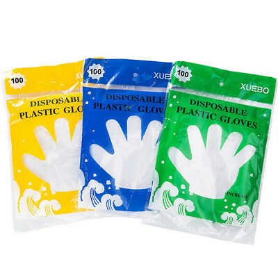 100X Plastic Disposable Gloves Restaurant Catering Hygiene For Food Processi~PA