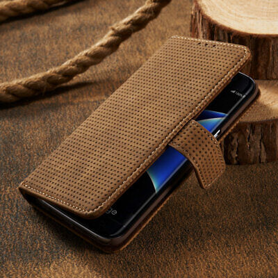 For Samsung Galaxy A3 A5(2017) Mesh Real Leather Magnetic Flip Wallet Cover Case