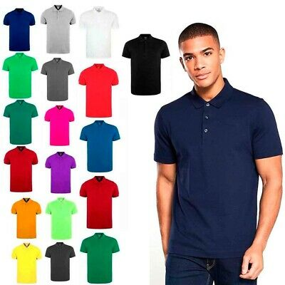 XXR Mens Polo Shirt Short Sleeve Plain Pique Top Designer  Fit T Shirt Tee
