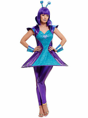 Ladies Alien Lady Costume Adult Womens Cosmic Cyborg Space Fancy Dress Outfit