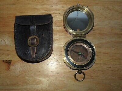 Vintage Stanley London Nautical Brass Maritime Compass & Case