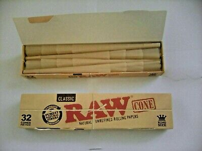 1 Box Of 32 Raw King Size Cone Pre- Rolled Cones In Small Box For Smoking Rizla.