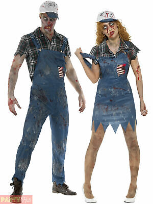 Zombie Hillbilly Costume Mens Ladies Halloween Farmer Fancy Dress Couples Outfit