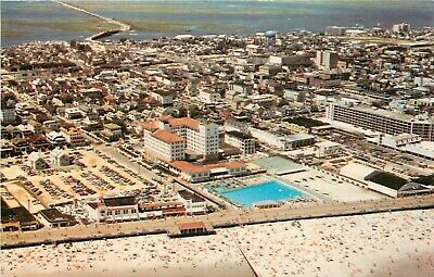New Jersey Postcard: Aerial View Of The Flanders Hotel Pool, Ocean City, Nj