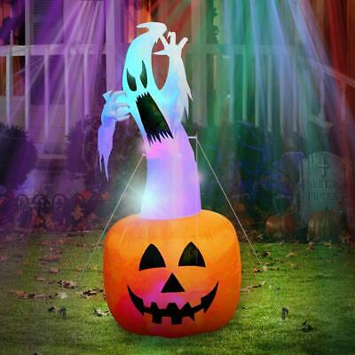 6Ft Halloween Inflatable Blow Up Yard Decorations Ghost on Pumpkin NEW FREE SHIP