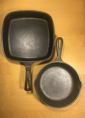 """Cast Iron Skillet Square 9"""" inch        Cast Iron Skillet Round  8"""" inch"""