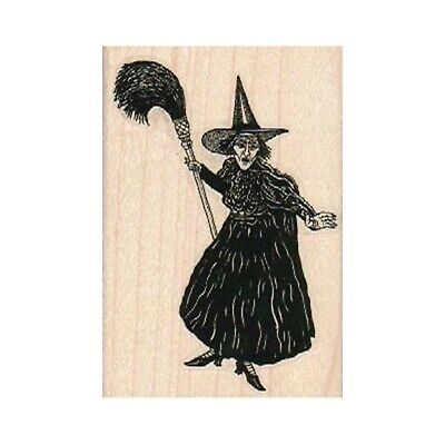 Halloween Witch in Training Rubber Stamp  Student Driver Broomstick K22505 WM
