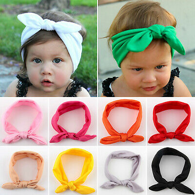Kids Baby Girls Bowknot Turban Headband Hair Band Elastic Headwrap Tie Bunny Ear