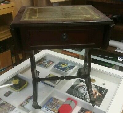 Small SIDE TABLE WITH EXTENDING GREEN LEATHER GOLD LEAF Embossed Top needs wheel