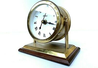 "Chelsea Vintage Clock Solid Brass Office Desk Clock 3"" Dial ( Rare Swivel )"