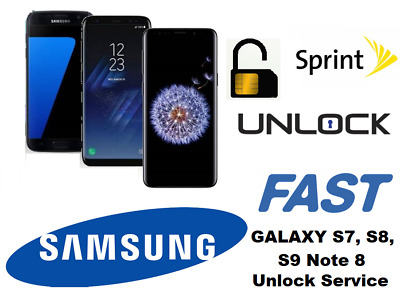 Instant SPRINT SAMSUNG GALAXY S7 S8 S8+ S9 S9+ Note 8 Unlock Remote Service