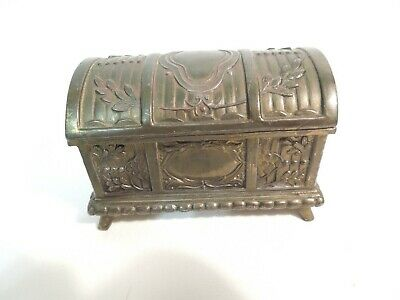 Vintage Metal Treasure Chest Trinket Box Rectangle w/ Hinged Lid Ornate Design
