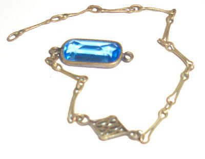1920s Antique Vintage Small Blue Faceted Stone Chain Brass Setting Art Deco  1