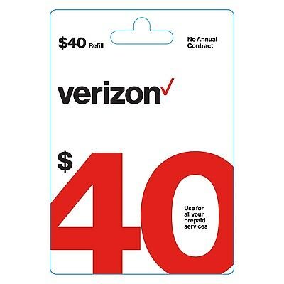 Verizon Wireless $40 Verizon Prepaid | $40 Refill Card |Digital Code|