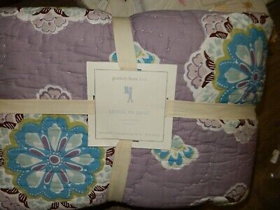 NIP Pottery Barn Kids Baby Aqua BRANSON Cotton Crib//Toddler Quilt