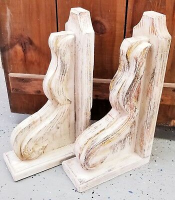 "XL PAIR WOOD CORBELS Gable Brackets Corner Brace Support 20"" H Distressed Pair"