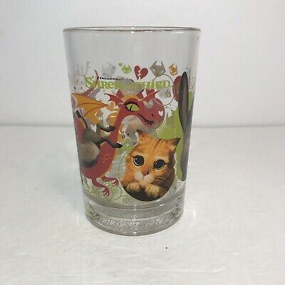 ☀️ New SHREK THE THIRD Collectible Glass Puss Boots Donkey Gingerbread McDonalds