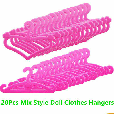 20pcs Barbie Doll Hanger Clothes Dress Skirt Hangers Accessories Mix Style Gift