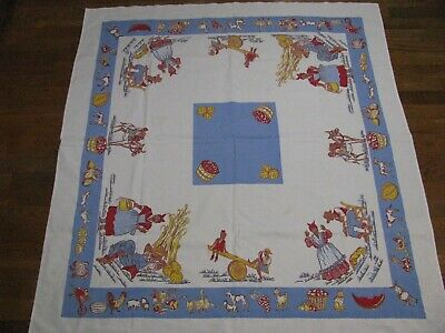 Vintage tablecloth Black Americana Estate Find CLEAN and Colorful!!! 49x45 1/4