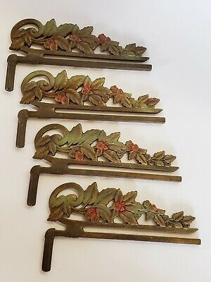 4 Antique Vtg Ornate Victorian Swing Away Arm Curtain Drapery Rods Cast Iron