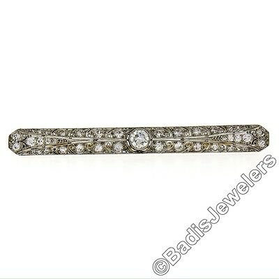 Antique Edwardian Platinum 1.50ctw Old European Diamond Milgrain Bar Pin Brooch