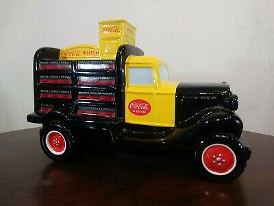 Vintage COCA-COLA CERAMIC TRUCK BANK approx 9in long 6in tall