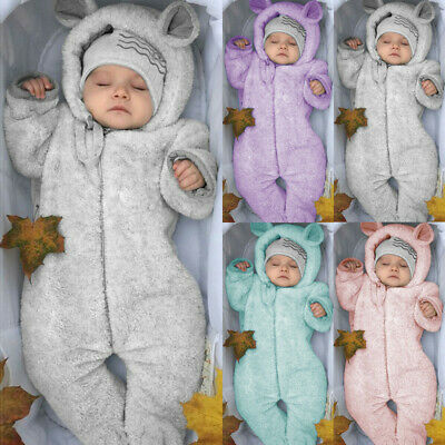 Toddler Baby Kid Boy Girl Winter Romper Jacket Hooded Jumpsuit Coat Outfit Gift
